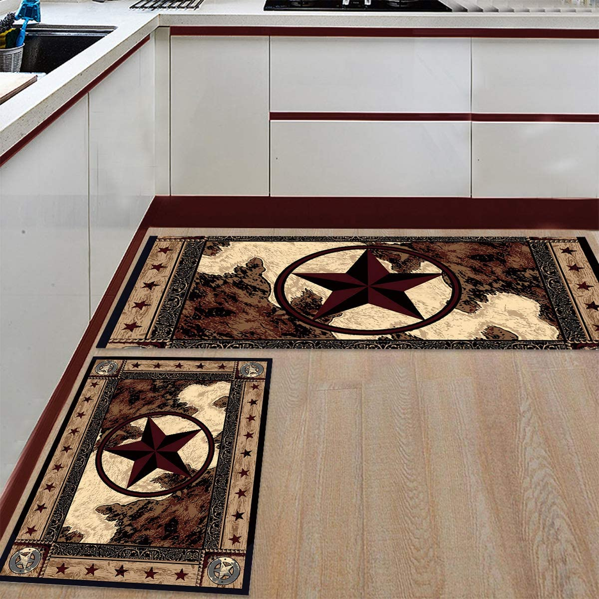 2 Pieces Detroit Mall Non-Slip Vintage Style Kitchen Rug overseas Sup Runner Bath Mat