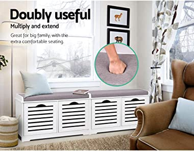 Shoe Bench, Artiss Wooden Hallway Shoe Storage Cabinet with Fabric Seat Stool