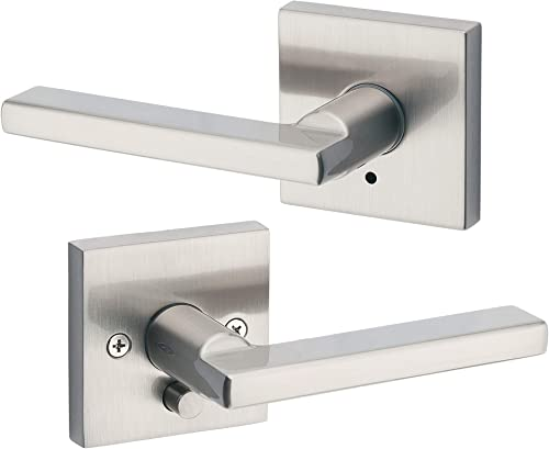 Kwikset 91550-001 Halifax Door Handle Lever with Modern Contemporary Slim Square Design for Home Bedroom or Bathroom ...