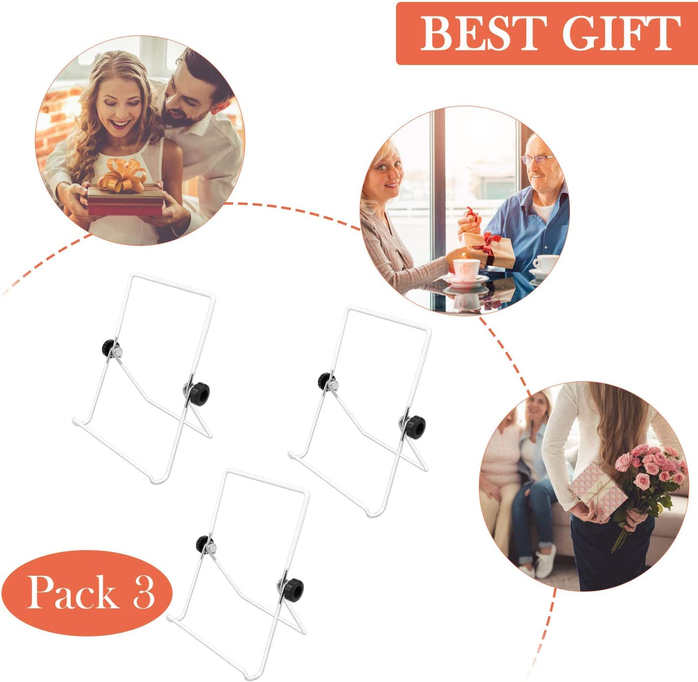 Black Plates TUOKEOGO 3 Pack Easel Picture Frame Stand Adjustable Foldable Tablet Iron Display Holder Stand for Displaying Photos Cookbooks,Kindle,iPad,Tablet