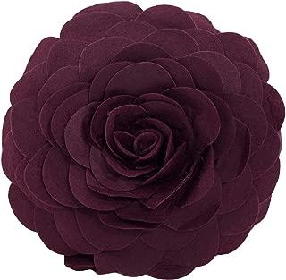 Fennco Styles Eva's Flower Garden Decorative Throw Pillow with Insert - 13 inch Round (Wine)