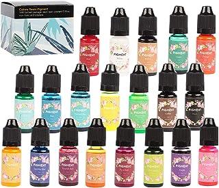 صبغة راتنج إيبوكسي 20 لونًا سائل راتنج مصبوغ غير سام راتنج ملون للراتنج الفني صناعة المجوهرات اليدوية، 9.9 جم/زجاجة