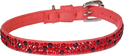 With Love to Christian Ultrasuede Straight Dog Collar, Extra Small Size 8, Red with Crystals