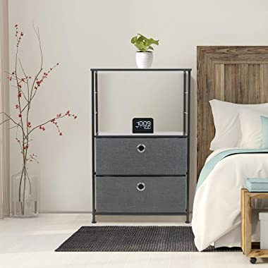Sorbus Nightstand 2-Drawer Shelf Storage - Bedside Furniture & Accent End Table Chest for Home, Bedroom, Office, College