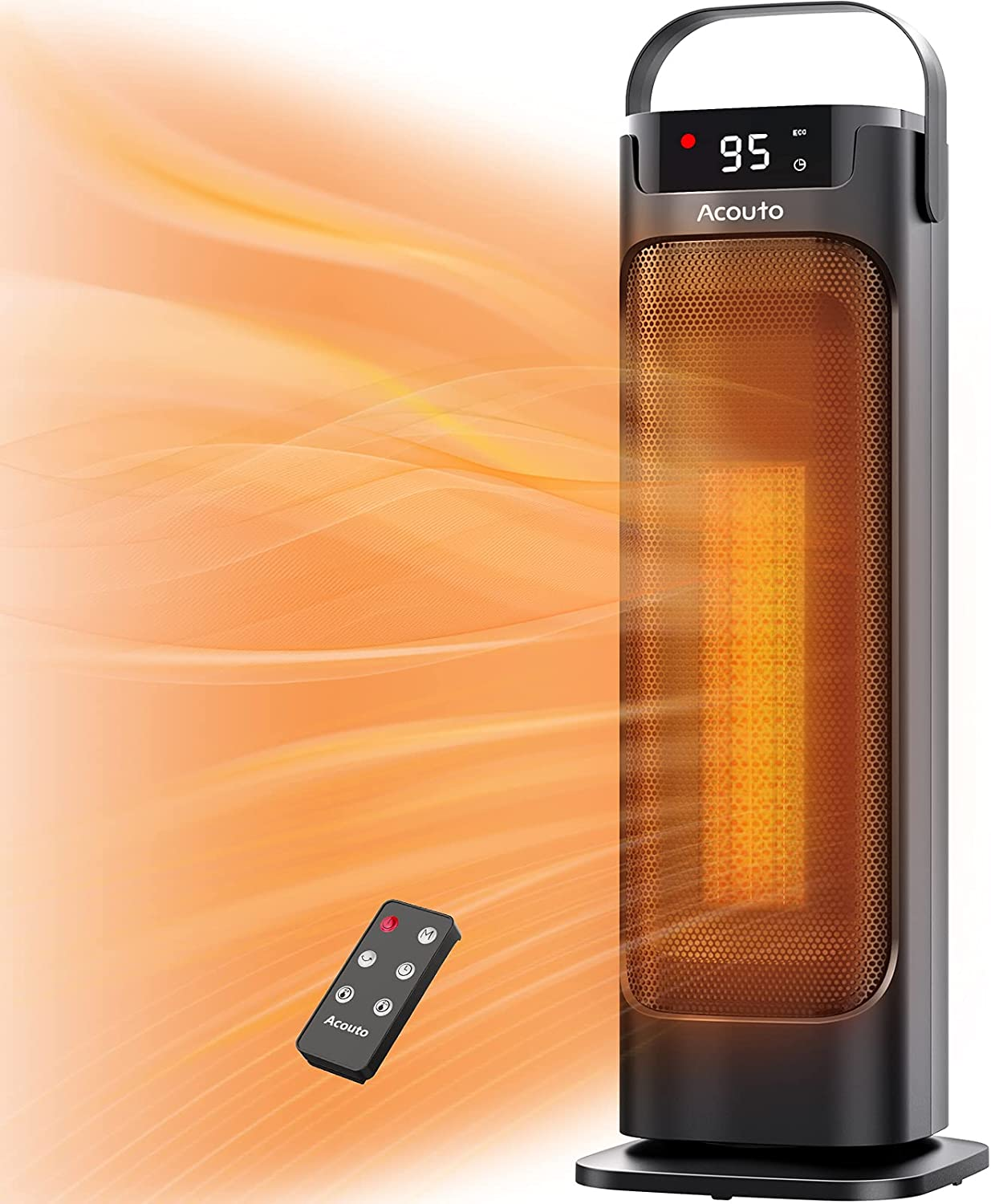 Space Heater, Acouto 1500W Portable Electric Heaters Indoor Use, Oscillating Ceramic Tower Heater for Bedroom and Home Office with Remote ECO Mode 12H Timer Overheating and Tip-over Protection
