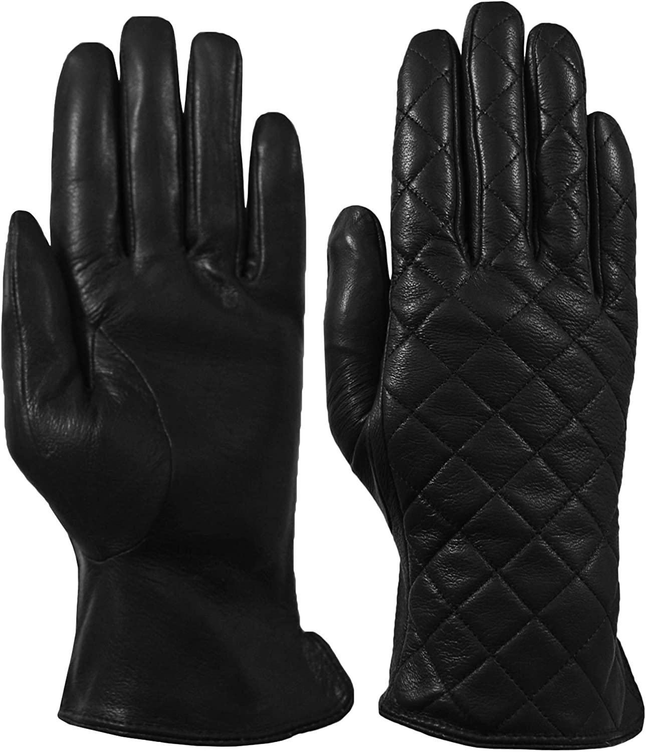 Giromy Samoni Womens Warm Winter Plush Faux Fur Lined Genuine Leather Quilted Dress Driving Gloves - Black