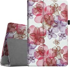 Fintie Folio Case for All-New Amazon Fire HD 10 Tablet (Compatible with 7th and 9th Generations, 2017 and 2019 Releases) - Premium PU Leather Slim Fit Stand Cover with Auto Wake/Sleep, Silk Flowers