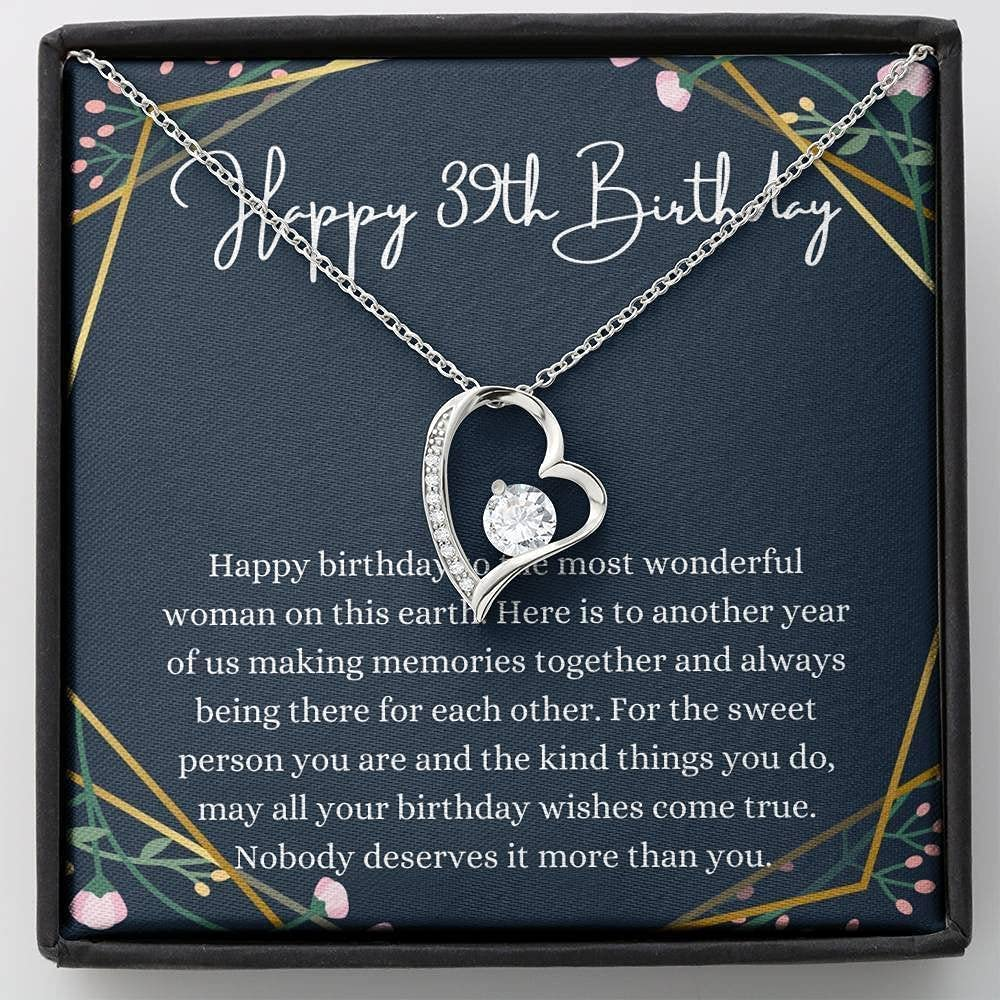 Heart Happy Seattle Mall 39th Birthday Necklace Tulsa Mall Message Card For With Gift
