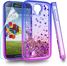 Zingcon Compatible for Samsung Galaxy S4 Phone Case,S IV I9500 Glitter Quicksand Case,with HD Screen Protector,Shockproof Hybrid Hard PC Soft TPU Bling Adorable Shine Protective Cover-Blue/Purple