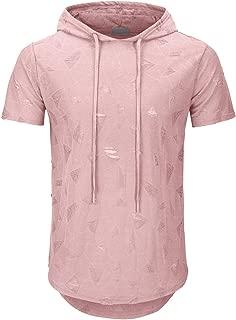 Men's Hipster Hip Hop Hoodie Hole Tshirt 1705-2