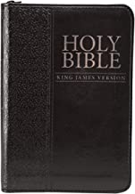 KJV Holy Bible, Mini Pocket Bible – Zippered Black Faux Leather Bible w/Ribbon Marker,..