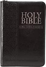 KJV Holy Bible, Mini Pocket Bible – Zippered Black Faux Leather Bible w/Ribbon Marker, King James Version