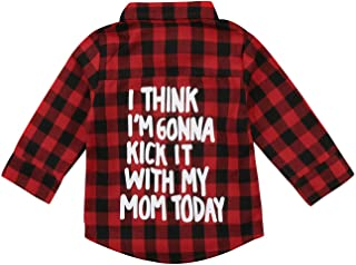 Kids Little Boys Girls Baby Letters Print Long Sleeve Button Down Red Plaid Flannel Shirt