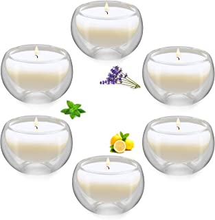 Winbattle Soy Aromatherapy Candle,Transparent Glass Votive Scented Candle, 6 Pack Gift Candle Sets, Lavender Lemon Mint