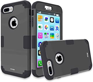 Case for iPhone 7 Plus,Three Layers Defender Shockproof Drop Proof High Impact Hybrid Armor Silicone Rugged Case Full-Body Protective Cover for Apple iPhone 7 Plus (Black)