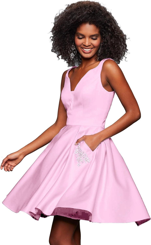 Junior's V Neck Homecoming Dress Beaded Satin Prom Dresses Short 2019 J99