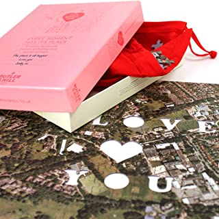 Personalized 'We First Met' Map Jigsaw (Aerial Photography)