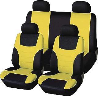 Cubiertas universales del asiento del automóvil para la cubierta delantera y trasera, la cubierta de asiento premium 8PCS, se siente cómodo resistente a la suciedad resistente a la limpieza.,Amarillo