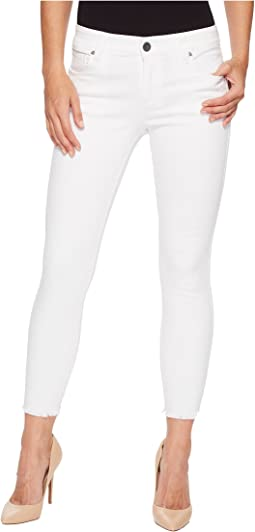 Connie Ankle Skinny Fray Hem in Optic White