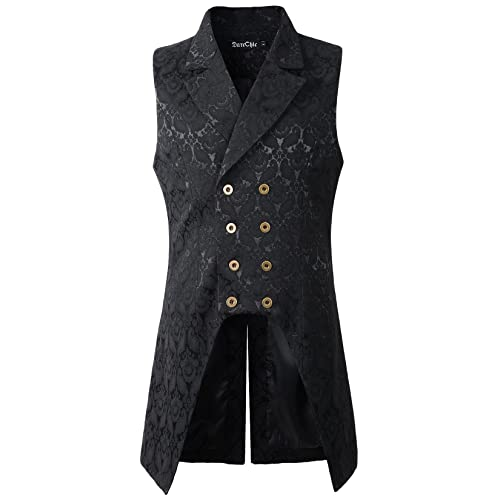 Steampunk Vest Black /& Tan Brocade Double Breasted Full Back Victorian Vest