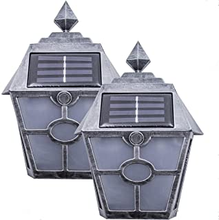 Solar Deck Lights Outdoor Waterproof Wall Light Bright Fence Lighting Silver Garage Door Lights Dual LED Porch Lantern Dock Decorations Sogrand Step Stair Lamp for Outside Decor Post Yard Path 2Pack