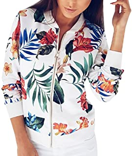 Women Retro Floral Zipper Bomber Jacket Long Sleeve Casual Chic Coat Streetwear