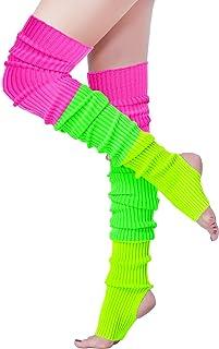 V28 Women Winter 80s Eighty's Warm Costume Marathon Knit Long Socks Leg Warmers