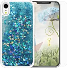 SanLead Phone Case for iPhone XR Quicksand Glitter Cover for Girls Anti-Scratch Shockproof TPU and PC with Screen Protector Compatible(Multi-Colored) (iPhone XR, Blue)