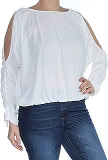Womens Blouson Cold Shoulder Casual Top White L
