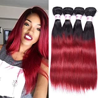 Top Hair Peruvian Ombre Burgundy Hair Extensions Black To Red Straight Weave Two Tone 4 Bundles 12 14 16 18 Inches Total 200 Gram
