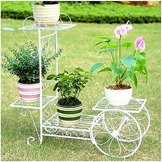 フラワースタンド 園芸ラック 現代のシンプルな花はアイアンアート多層バルコニーリビングルームランディングフラワーポットホルダーインドアグリーン大根Chlorophytumフラワーシェルフスタンド SLTHX (Color : White)