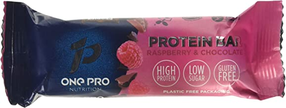 ONE PRO Nutrition Protein Bars Contains 12 Bars Raspberry and Chocolate Flavour Gluten Free and Vegan Friendly Protein Bars 17g Protein 14g Fibre and 3g Sugar per Bar – 12 Bars Estimated Price : £ 28,50