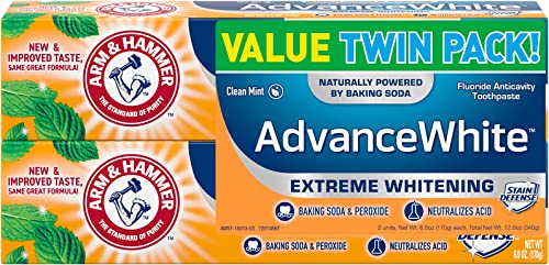 ARM & HAMMER Advanced White Extreme Whitening Toothpaste, TWIN PACK (Contains Two 6oz Tubes) -Clean Mint- Fluoride To...