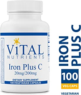 Vital Nutrients - Iron Plus C (20 mg/200 mg) - Supports Healthy Cognition and Energy Levels For Women and Men - 100 Capsules per Bottle