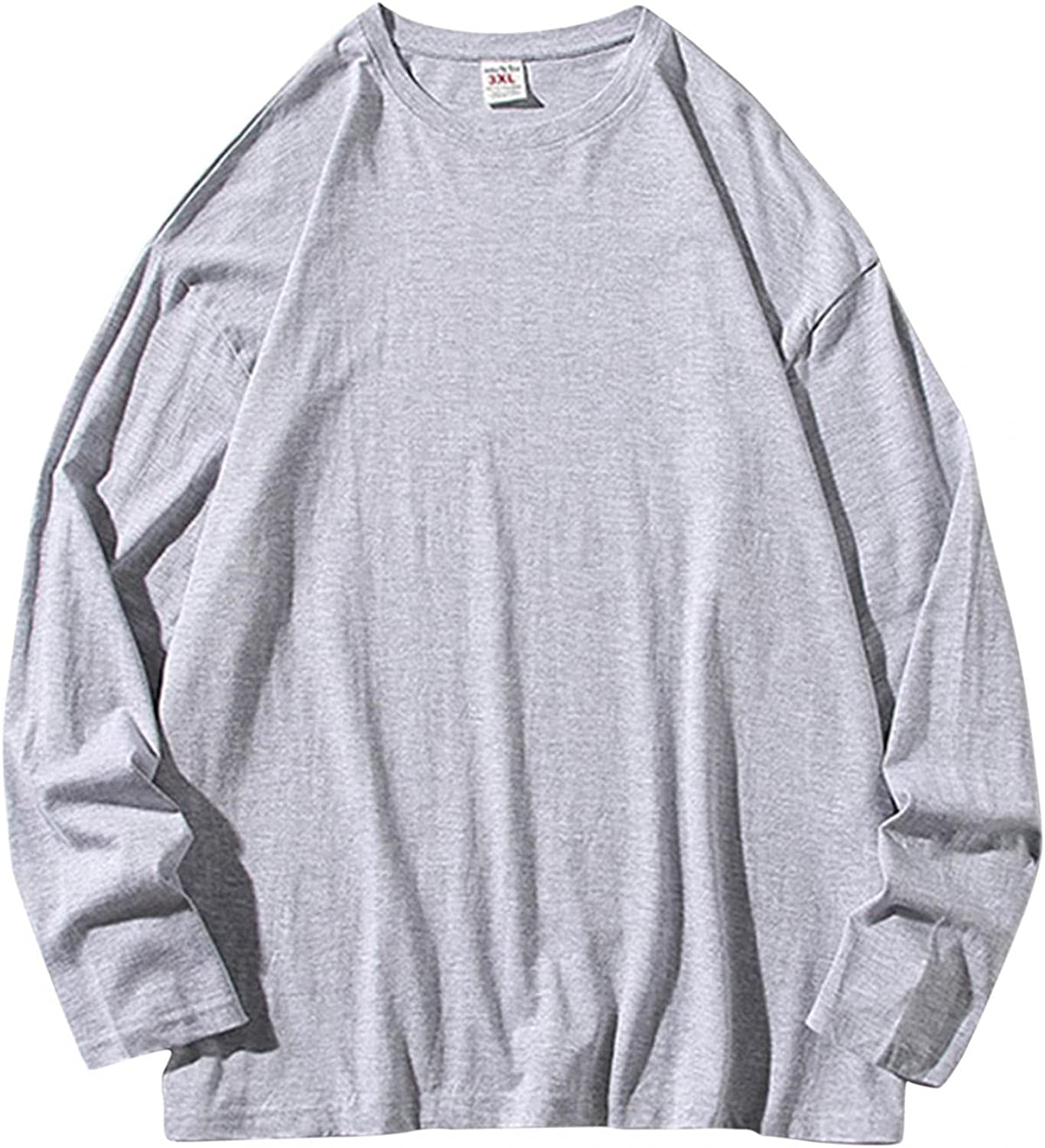 WUAI-Men Athletic Solid Workout Sweatshirt Crewneck Hipster Hip Hop Lightweight Plain Pullover Sweater Thermal Tunic Tops
