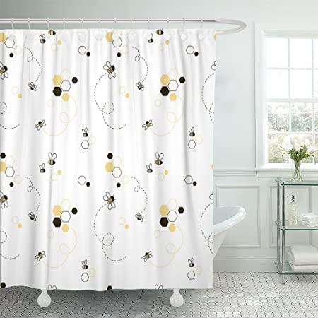 Nonbrand Shower Curtain The Bees Bath Curtain Hotel Quality for Bathroom Decorations 48 x 72 Inches