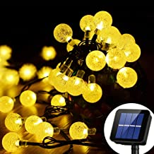Solar String Light 8 MODEL 20 ft 30LED Globe Outdoor String Light Lighting for Indoor Christmas Home Patio Lawn Garden Wedding Party Decorations (Warm White)
