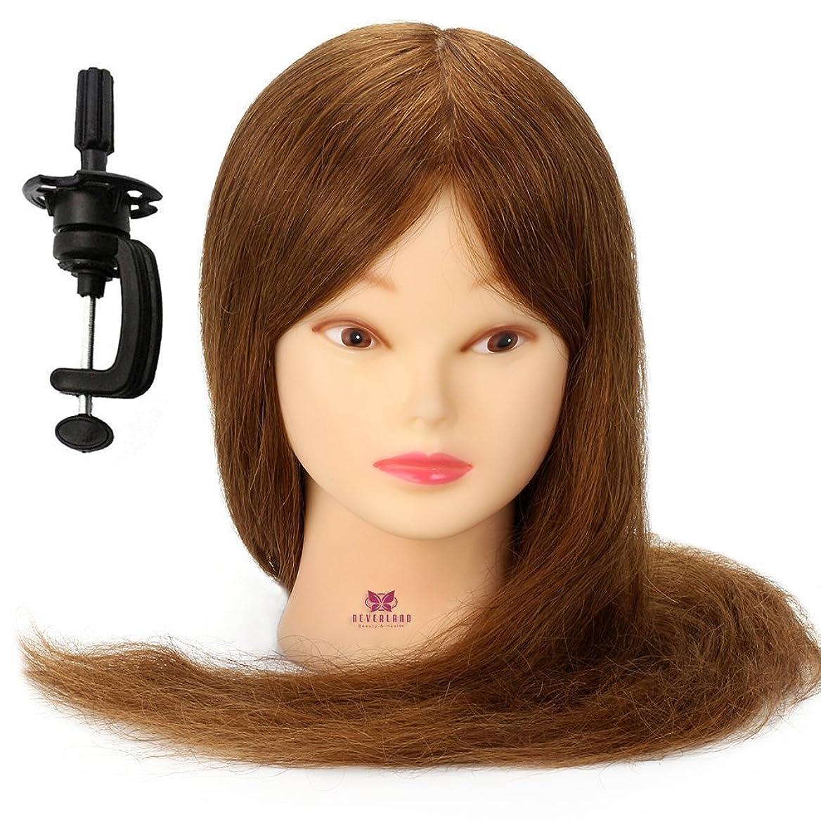 誰かパフ打ち上げるNeverland Beauty 編み込み練習用 カット練習用 人毛100%カットマネキン プロ 美容師用 カットウイッグ マネキンヘッド パーマ カラー可能