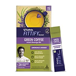 Saffola FITTIFY Gourmet Green Coffee Instant Beverage Mix for Weight Management – 30g (Lemongrass La