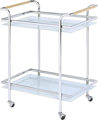 Benjara, Chrome and Clear Mirror top Metal Industrial Serving Cart with Casters