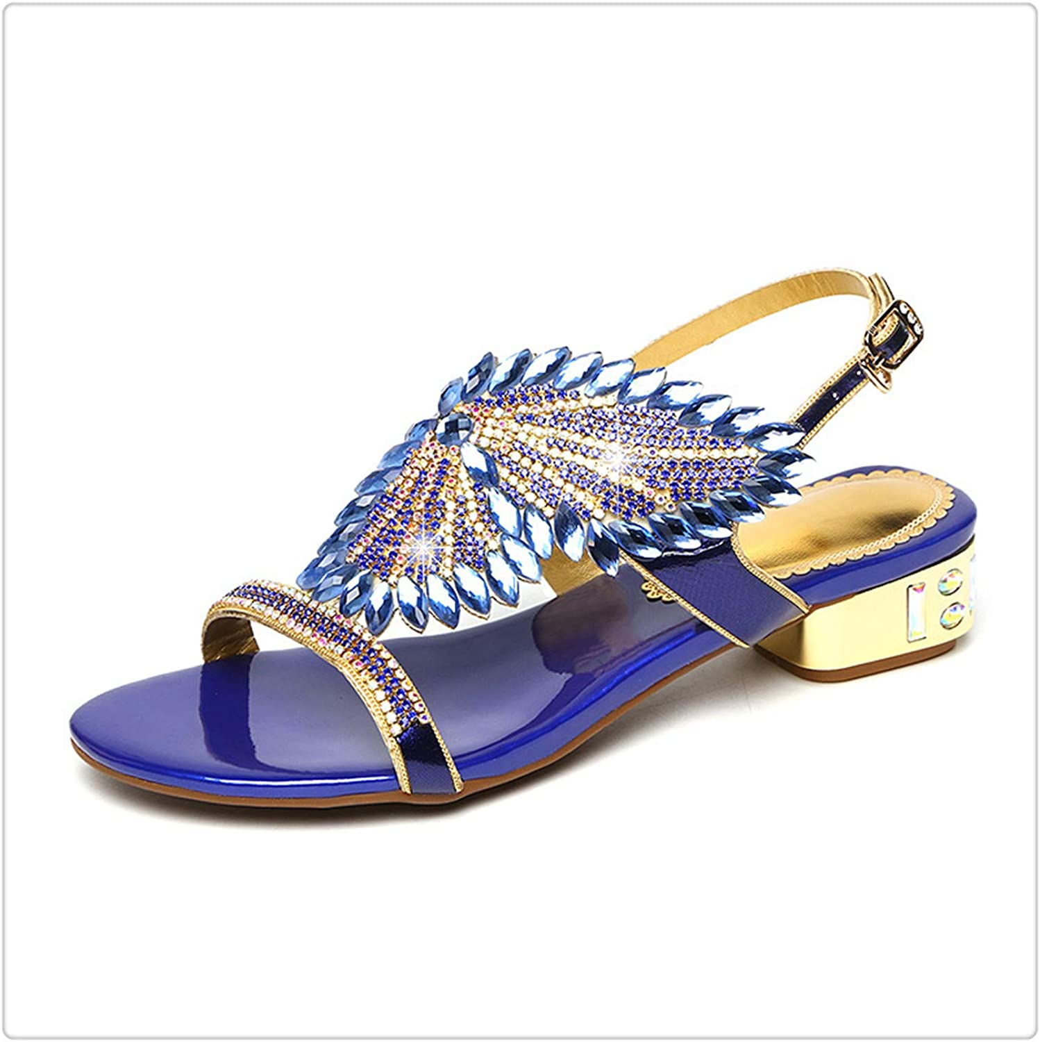 KKEPO& Brand shoes Rhinestone Sandals Women shoes Sandals 2019 Newest Summer Comfort Square Heel shoes Woman Fashion Sandals bluee 9