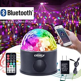 CHINLY LED Disco Ball Light MP3 Music Bluetooth Speaker USB Portable 9W 9color Modes Dance Hall Strobe Light Mini LED Stage Light Party Light for Wedding Party Bar Club DJ KTV (with Remote & US Plug)