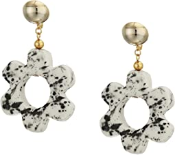 "2.5"" Gold Ball Top with White and Black Ceramic Open Flower Drop Clip Earrings"