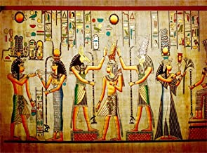 Leowefowa 10X8FT Ancient Egyptian Backdrop Hieroglyphics Pharaoh Mural Painting Parchment Culture Religion Abstract Wallpaper Vinyl Photography Background Kids Adults Photo Studio Props