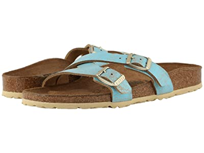Birkenstock Yao (Washed Metallic Aqua Leather) Women