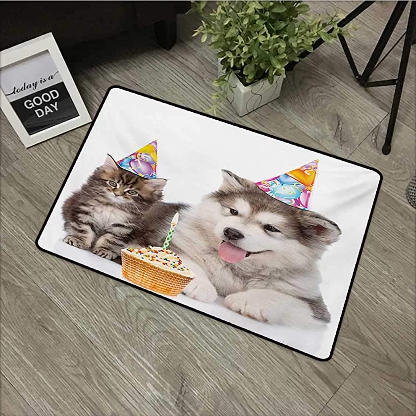 Outdoor door mat W24 x L35 INCH Kids Birthday,Dog and Cat Domestic Animals with Birthday Party Cones and Cupcake Image,Brown and White Easy to clean, no deformation, no fading Non-slip Door Mat Carpet