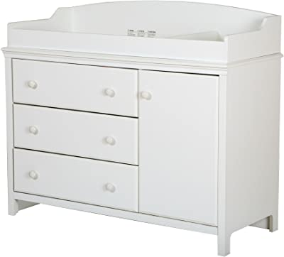 South Shore Furniture 3250333 South Shore Convertible Changing Table with Storage Drawers and Removable Changing Station, Pure White