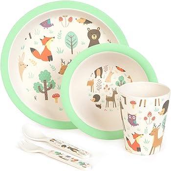 L/öffel Tasse f/ür Babys Toddler BPA-frei und sp/ülmaschinenfest Schale Teller Gabel Afufu Kindergeschirr Set 5-teiliges Bambus Geschirr Set