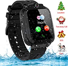 Themoemoe Kids Smartwatch Phone, Kids GPS Watch Waterproof SOS Camera Game Compatible with 2G T-Mobile Birthday Gift for Kids(S12B-Black)
