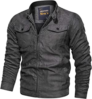 Mens Autumn Winter Vintage Zipper Stand Collar Suede Leather Jacket Cargo Coat